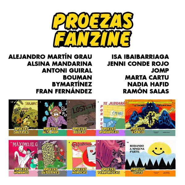 Autores y portadas de los cuadernillos incluidos en Proezas fanzine