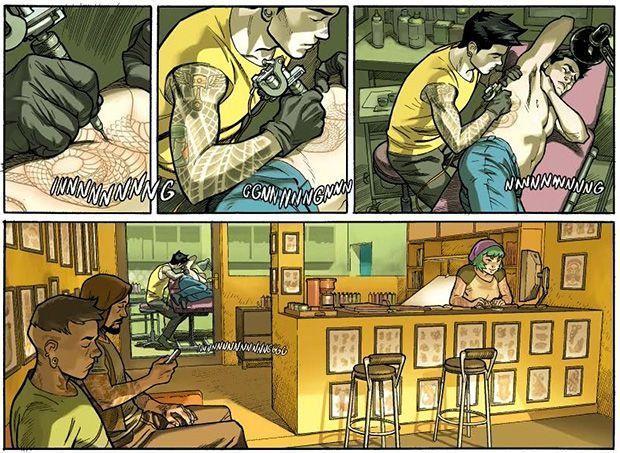 Viñetas de Yoshi tatuando