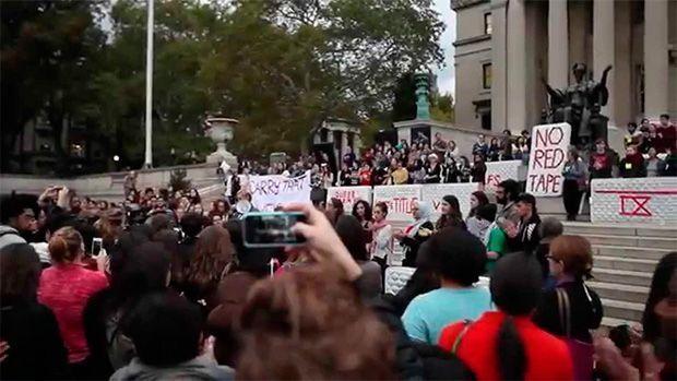 Una de las manifestaciones de las víctimas